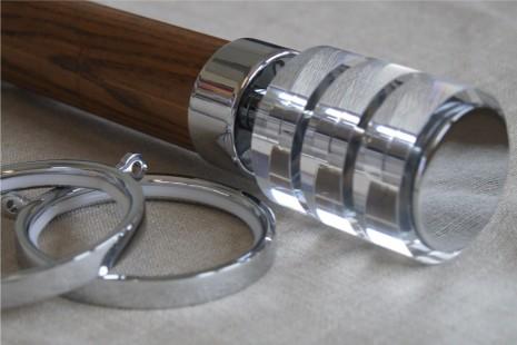 Jacobean Dark Oak pole – Acrylic Castile finial for 50mm dia pole